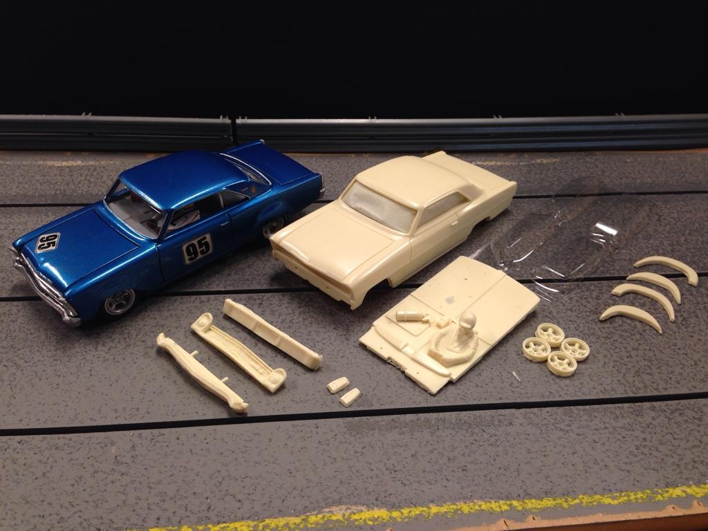 Blue 1966 Chevy RMS Resin Slot Car Kits | 3DPRINTUK