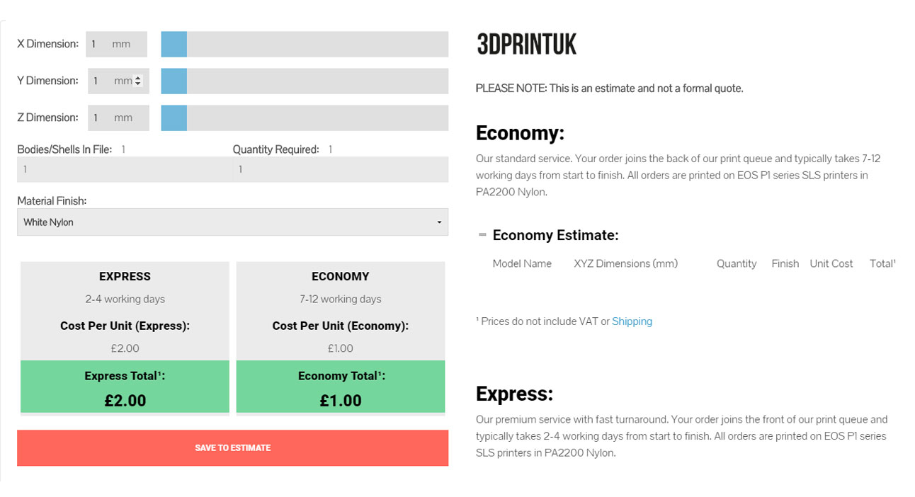 3DPRINTUK | Pricing Structure | Low Cost 3D Printing